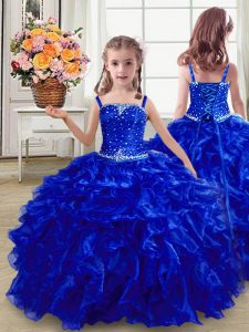 Beautiful Royal Blue Sleeveless Floor Length Beading and Ruffles Lace Up Girls Pageant Dresses