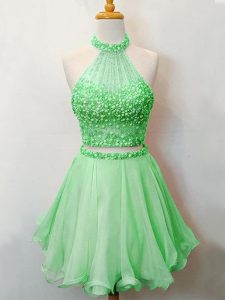 Glittering Green Lace Up Halter Top Beading Quinceanera Court Dresses Organza Sleeveless