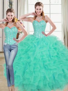 Sleeveless Brush Train Lace Up Beading and Ruffled Layers 15 Quinceanera Dress