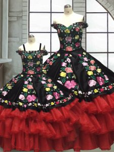 Red And Black Lace Up 15 Quinceanera Dress Embroidery and Ruffled Layers Sleeveless Floor Length