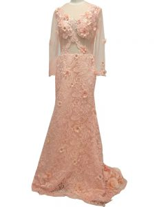 Charming Peach Scoop Side Zipper Beading and Hand Made Flower Mother of the Bride Dress Brush Train Long Sleeves