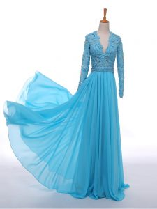 Chiffon Long Sleeves Floor Length Mother of Bride Dresses and Lace