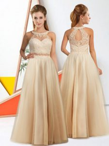 Lovely Halter Top Sleeveless Zipper Court Dresses for Sweet 16 Champagne Chiffon