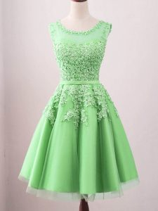 High Class Green Sleeveless Tulle Lace Up Quinceanera Court Dresses for Prom and Party and Wedding Party