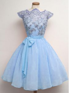 Charming Knee Length A-line Cap Sleeves Blue Quinceanera Court Dresses Lace Up