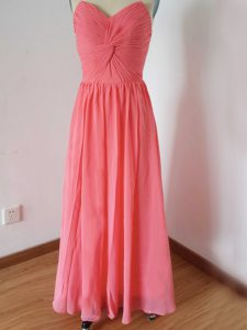 Ruching Quinceanera Dama Dress Watermelon Red Zipper Sleeveless Floor Length