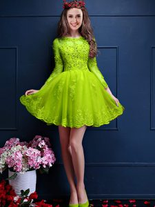 Noble Yellow Green A-line Beading and Lace and Appliques Vestidos de Damas Lace Up Chiffon 3 4 Length Sleeve Mini Length