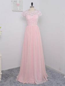 Vintage Baby Pink Empire Chiffon Scoop Cap Sleeves Lace Floor Length Zipper Dama Dress