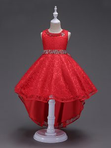 Hot Sale Red Lace Up Pageant Dress Womens Beading Sleeveless High Low