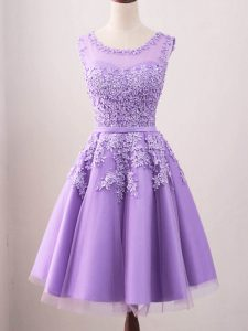 Lavender Lace Up Court Dresses for Sweet 16 Lace Sleeveless Knee Length