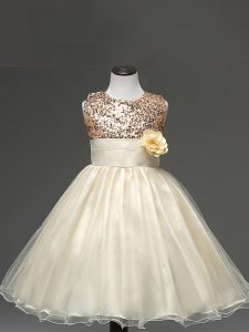 Custom Made Champagne Tulle Zipper Custom Made Pageant Dress Sleeveless Knee Length Sequins and Hand Made Flower