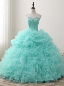 Stylish Apple Green Ball Gowns Beading and Ruffles and Pick Ups Quince Ball Gowns Lace Up Organza Sleeveless Floor Length