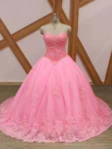 Attractive Rose Pink Tulle Lace Up Sweetheart Sleeveless Sweet 16 Dress Brush Train Beading and Lace