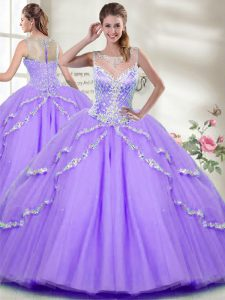 High End Tulle Sleeveless Floor Length Ball Gown Prom Dress and Beading