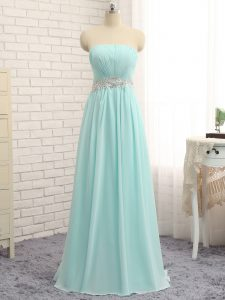 Extravagant Apple Green Chiffon Zipper Strapless Sleeveless Floor Length Quinceanera Court of Honor Dress Appliques and Ruching