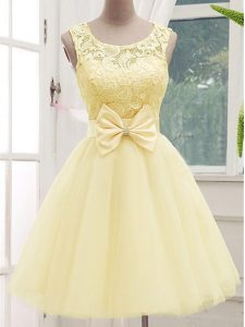 Latest Light Yellow Sleeveless Tulle Lace Up Damas Dress for Prom and Party and Wedding Party