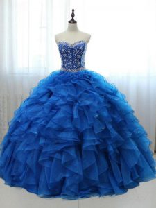 Nice Royal Blue Lace Up 15 Quinceanera Dress Beading and Ruffles Sleeveless Floor Length