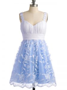 Romantic Light Blue Sleeveless Lace Knee Length Court Dresses for Sweet 16