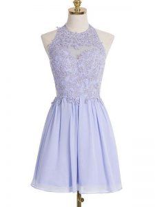 Artistic Sleeveless Knee Length Lace Lace Up Dama Dress for Quinceanera with Lavender
