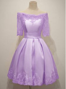 Lavender Taffeta Lace Up Off The Shoulder Short Sleeves Knee Length Dama Dress Lace
