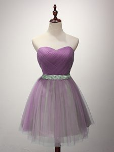 Mini Length Lilac Court Dresses for Sweet 16 Tulle Sleeveless Ruching
