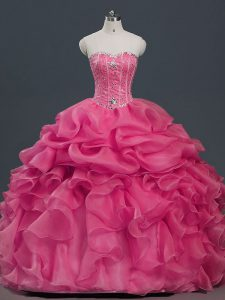 Organza Sweetheart Sleeveless Lace Up Beading and Ruffles and Pick Ups Quinceanera Gown in Hot Pink