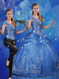 Fashion Beading and Embroidery Sweet 16 Dress Blue Lace Up Cap Sleeves Floor Length