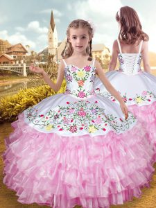 Rose Pink Sleeveless Embroidery and Ruffled Layers Floor Length Little Girl Pageant Dress