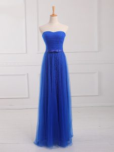 Glittering Royal Blue Tulle and Lace Lace Up Court Dresses for Sweet 16 Sleeveless Floor Length Belt