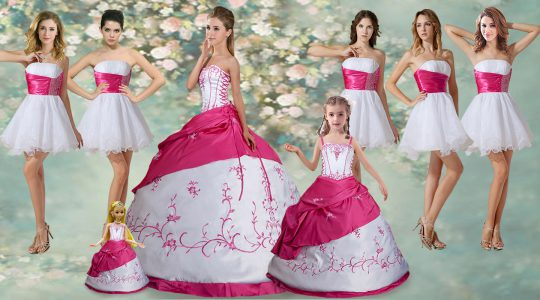 New Style Floor Length White Sweet 16 Quinceanera Dress Strapless Sleeveless Lace Up