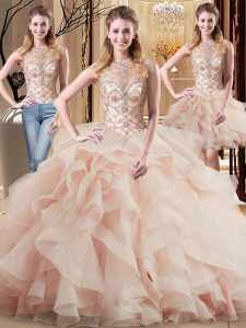 Scoop Sleeveless Tulle Sweet 16 Dress Beading and Ruffles Brush Train Lace Up