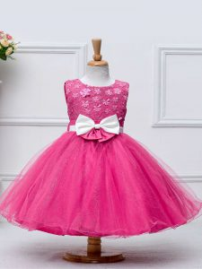 Hot Pink Sleeveless Tulle Zipper Little Girl Pageant Dress for Wedding Party