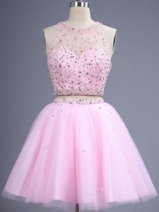 High Class Pink Tulle Zipper Dama Dress for Quinceanera Sleeveless Knee Length Beading and Lace