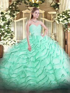 Apple Green Ball Gowns Beading and Ruffled Layers 15th Birthday Dress Lace Up Organza Sleeveless
