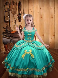 Gorgeous Aqua Blue Sleeveless Satin Lace Up Kids Pageant Dress for Sweet 16 and Quinceanera
