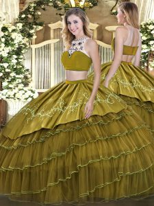 Flare Sleeveless Backless Floor Length Beading and Embroidery and Ruffled Layers Quinceanera Dress