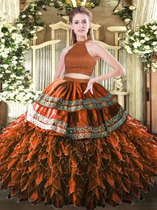 Fitting Rust Red Backless Quinceanera Dresses Beading and Embroidery and Ruffles Sleeveless Floor Length