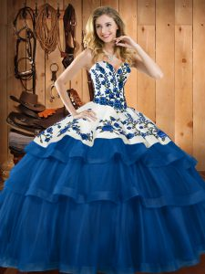 Spectacular Embroidery Sweet 16 Dress Blue Lace Up Sleeveless Sweep Train