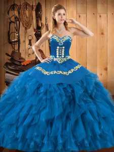 Blue Sleeveless Embroidery and Ruffles Floor Length Ball Gown Prom Dress