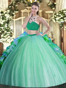 Modest Multi-color Sleeveless Beading and Ruffles Floor Length 15 Quinceanera Dress