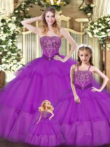 Sleeveless Ruffled Layers Lace Up Quinceanera Gowns