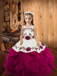 Fuchsia Ball Gowns Straps Sleeveless Tulle Floor Length Lace Up Embroidery and Ruffles Little Girl Pageant Dress