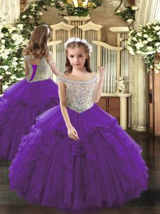 Custom Designed Purple Sleeveless Floor Length Beading and Ruffles Lace Up Little Girls Pageant Dress Wholesale