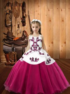 Excellent Straps Sleeveless Organza Little Girls Pageant Dress Wholesale Embroidery Lace Up