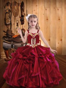 Discount Straps Sleeveless Organza Little Girls Pageant Dress Wholesale Embroidery and Ruffles Lace Up