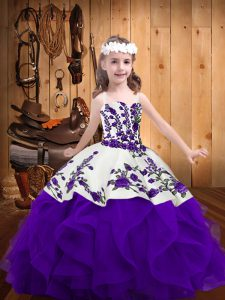 Fashion White And Purple Ball Gowns Embroidery and Ruffles Pageant Gowns For Girls Lace Up Organza Sleeveless Floor Length