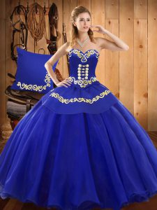 Fine Ball Gowns Quinceanera Gowns Blue Sweetheart Tulle Sleeveless Floor Length Lace Up