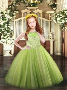 Perfect Yellow Green Scoop Neckline Beading Pageant Dress for Teens Sleeveless Zipper