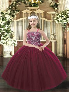 Burgundy Ball Gowns Straps Sleeveless Tulle Floor Length Lace Up Beading Little Girls Pageant Gowns