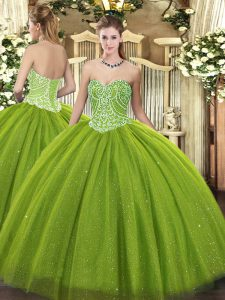 Flare Olive Green Quinceanera Gowns Military Ball and Sweet 16 and Quinceanera with Beading Sweetheart Sleeveless Lace Up